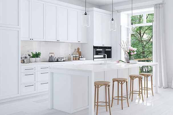 Современный стиль, белый цвет, красота и комфорт: примеры и фото дизайна кухонь